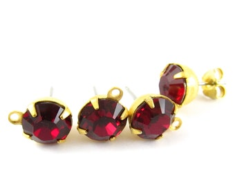 2 pcs - Gold Plated Swarovski Crystal Earring Posts with Loop Rhinestone Ear Studs Earring Finding Round 8mm - Ruby