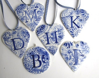 I - Monogram - Hand painted porcelain  Heart -  Blue and white Delftware - Dutch Personalized Gift / ornament