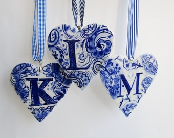 Letter L- Capital  L - Initial - Monogram - Hand painted porcelain  Heart -  Blue and white Delftware ornament