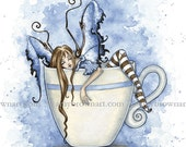 I Need COFFEE FAIRY 8.5x11 PRINT by Amy Brown