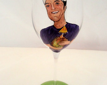 Hand Painted Custom Personalized Wine Glass- I Paint and You Design - Your Own Special Creation- Great Gift