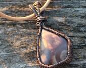 Copper Wire Wrap Stone Necklace, Item #300106
