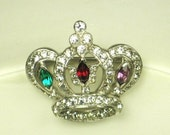 items 10% off Mazer Brothers Rhodium Metal and Rhinestone Crown Pin