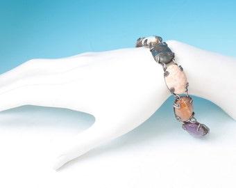 Multi Stone Sterling Bracelet Agate Jasper Amethyst Eagle 3 Mark Vintage