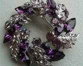 Vintage Brooch - Sparkly Amethyst and Clear Rhinestone and Silver Colored Wreath Brooch - Mid Century