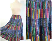 80s Vintage Ethnic Midi Skirt Cotton Full A-Line Skirt Woven Tribal Multi Color Textured  small to medium