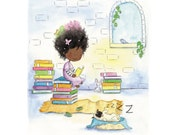 Girl and Puppy - PRINCESS TRULY and Sir NOODLES  - Art Print