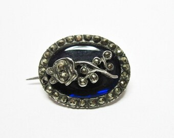 Antique Georgian Blue Enamel and Marcasite Pin - Fichu - Rose on Stem - Silver - Small - C1800