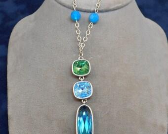 Blue Green Rhinestone Y Necklace - Vintage