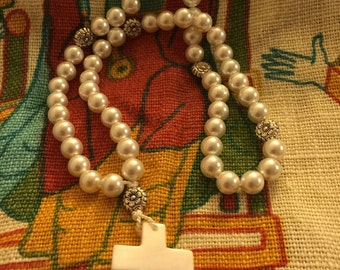 White Pearls Medieval Paternoster or Rosary