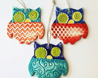 Whimsical Owl Ornament   MADE TO ORDER   Choose A Pattern   Textured Owl Ornament   Christmas Ornaments   Ornaments   Textured Clay