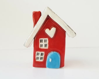 Little Clay House | Ceramic House | Miniature House | Whimsical house | Red House | Fairy House Hearthome | Tiny House