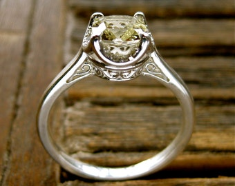 Lemon Quartz Ring with Diamonds in Sterling Silver and Scroll Detail on Basket Size 7