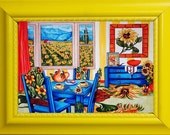 6 x 8 Small Fine Art Print, van Gogh, Sunflowers, Blue Table and Chairs, Original Art by k Madison Moore