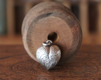 Antique French Silver Hand Chased Heart Memorial Mourning Sweetheart Locket Pendant Amulet Charm