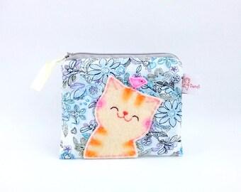Smiling Cat Coin Purse, Cat Purse, Cat Zipper Pouch, Pouch, Coin Purse, Cute Purse, Floral Purse, Blue, Bird, Change Purse - Cat Lover Gift