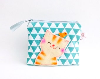 Geometric Coin Purse, Wallet Coin Purse, Zipper Pouch Mint, Cat Purse, Womens Accessory Gift, Triangle Purse, Cat Lovers Gift - Smiling Cat