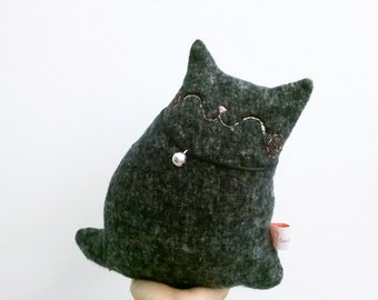 Stuffed Animal, Stuffed Cat Black, Plush Cat Toy, Softie Cat, Black Cat, Cat For Home, Cat Home Decor, Cat Lover Gift - Kitty Coal