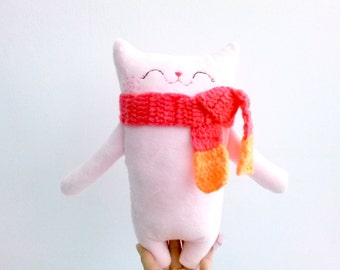 Toddler Toy Cat, Pink Stuffed Cat, Cat Softie, Stuffed Animal, Doll Cat, Plush Cat, Doll Cat - Gift for Girl