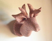 Faux taxidermy fabridermy deer head pink pastel floral stuffed fabric head handmade