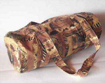 Duffel bag large barrel bag African safari cotton brown lined gym weekend bag handmade