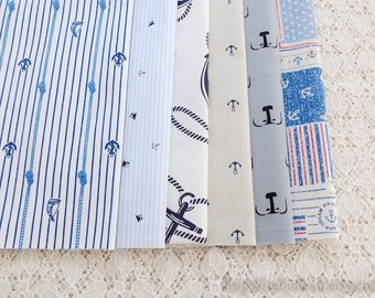 S038 Fabric Scraps Bundle Set - Dark Blue Nautical Marine Geometry Summer Anchor Rudder Sailing Stripe Checks (6PCS, 9x9 Inches)