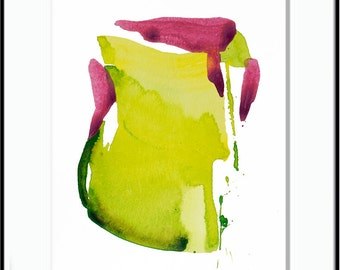 """Abstract Expressionist Original Watercolor Painting, yellow, green, pink 8 x 10"""" contemporary art """"Painting 895"""" modern minimal bright art"""
