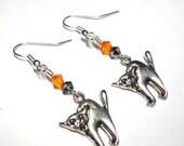 Halloween Cat Earrings, Swarovski Austrian Crystals, Silver, Holiday Earrings, Spiritcatdesigns