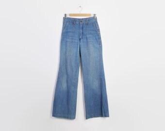 Vintage 70s BELL BOTTOMS / 1970s Blue Pintucked Denim Bells High Waist Jeans S