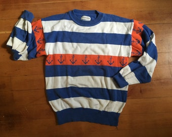 Blue and orange anchor sweater