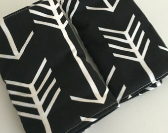 Black and white Arrow Reversible  Baby Carrier Drool Pads - Baby Carrier Drool Pads - Fits most Carriers - Ready to Ship