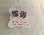 Preppy square size nail polish sparkly stud earrings