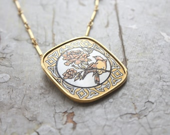 damascene yellow finch necklace
