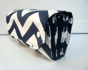 Cash Envelope Wallet  / Dave Ramsey System / Zipper Envelopes - Dark Blue and White Chevron Zig Zag