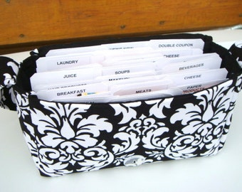Medium Size Coupon Organizer Holder - Attaches to your shopping cart - Black and White Damask