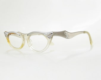 SALE Vintage 1950s Cat Eye Glasses Cateye Eyeglasses Fifties Pin Up Sexy Womens Ladies Silver Aluminum Metallic 50s Retro Chic Indie Hipster