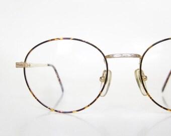 POP SALE Vintage Round Eyeglasses Wire Rim Womens 1980s Geek Chic Frames Glasses Tortoiseshell Metallic Gold Bronze Geeky Nerd Fashion Deads