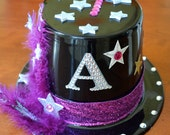 Personalized Magic Star Purple Feather Magician Magic Birthday Party Black Top Hat with Initial and Birthday Age
