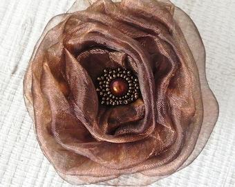 Coppery Bronze Fabric Flower Brooch - Flower Pin - Hat Decoration - Bronze Organza Fabric Flower Pin with Beaded Center