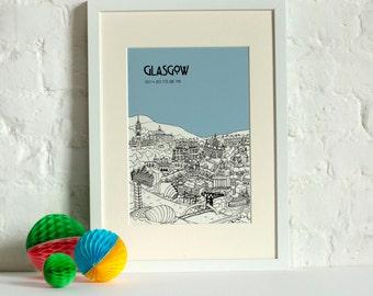 Personalised Glasgow Print