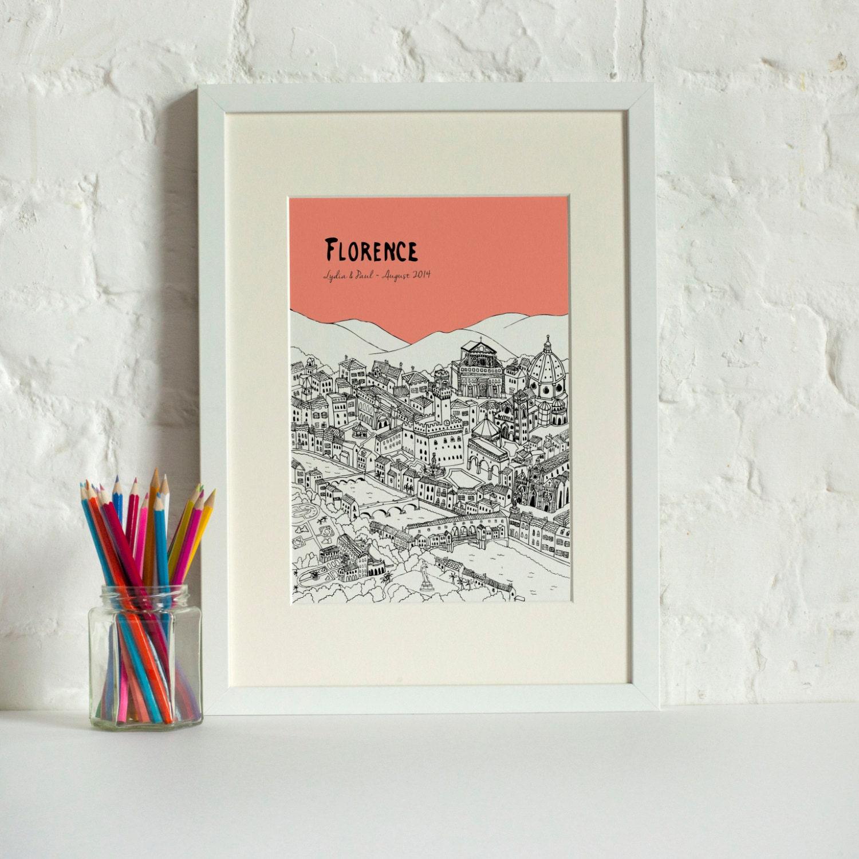 Personalised Wedding Gifts Edinburgh : Personalised Florence Print Unique Engagement Gift Custom