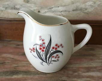 Vintage 40s CREAMER Wedgewood Art Deco Gray and Red Floral Cream