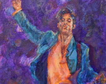 His Purpleness - Prince - Painting, Print, Totebag, Pillow, T-Shirt, Beach Towel - or Commission Original - Prince - Minneapolis Art