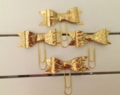 Gold Faux leather  planner clips