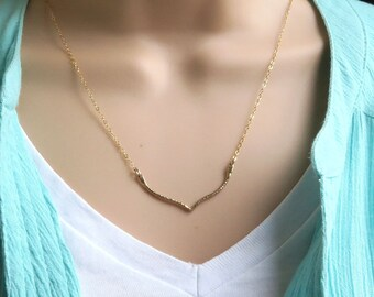 Gold Chevron Necklace, hammered finish, 14k gold fill, v-necklace, layering, minimal jewelry