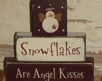 Hand made Snowflakes are Angel Kisses Stacking Block Set - Christmas Decor - Primitive Snowman Decor - Decoration - Table Sitter
