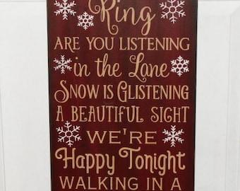 Sleigh Bells Ring Typography Primitive Wood Christmas Sign-Christmas and Holiday-Christmas home Decor - Wall Decor-Decoration-Hand made