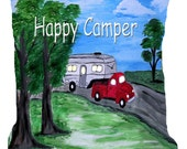 5th Wheel Camper Happy Camper art throw pillow  with insert from my art.