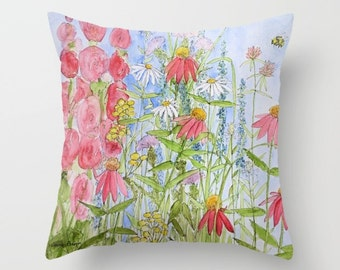 Garden Flowers Floor Floor Throw Pillow with pillow insert 26 inch Sunny Days