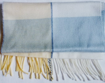 Vintage Echo Scarf, Made in Japan, 1980s Warm and Cozy Long Plaid Fringed Scarf by Echo in Yellow, White, and Blue, Vintage 80s Winter Scarf